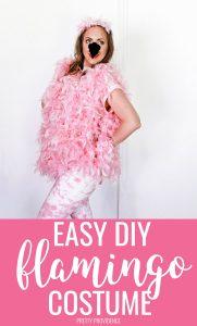 DIY Halloween Flamingo Costume with pink boas, pink t-shirt and felt.