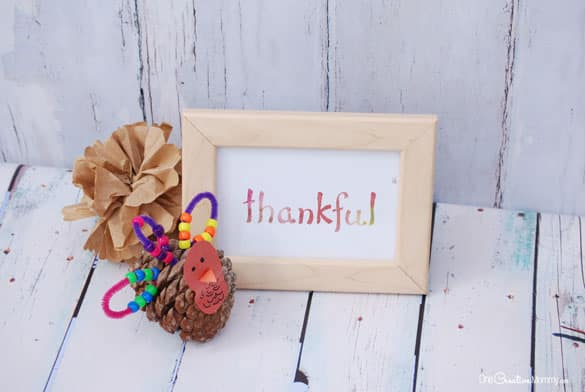 Simple watercolor printables for Thanksgiving | Thankful & Blessed {OneCreativeMommy.com}