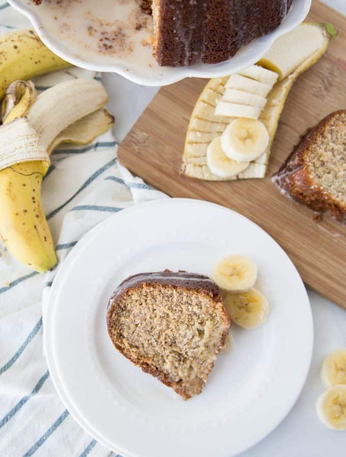 Easy Banana Cake Recipe with Vanilla Glaze