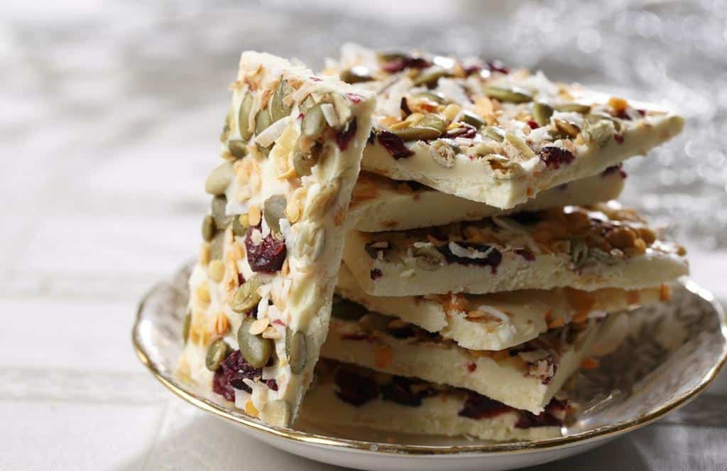 http://www.lentils.ca/recipe/white-chocolate-lentil-bark/