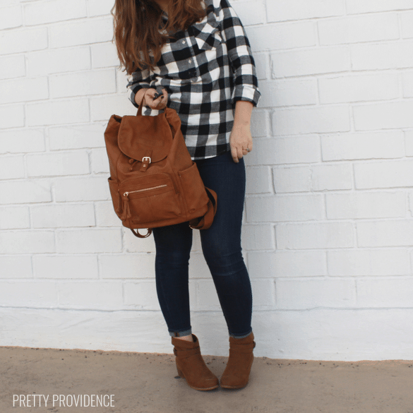 Ankle boots, buffalo plaid and backpack! prettyprovidence.com