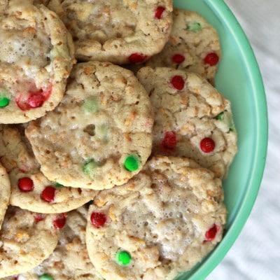 Cornflake Marshmallow M&M Christmas Cookies