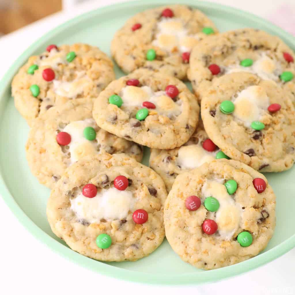 Cornflake Marshmallow M&M Christmas Cookies