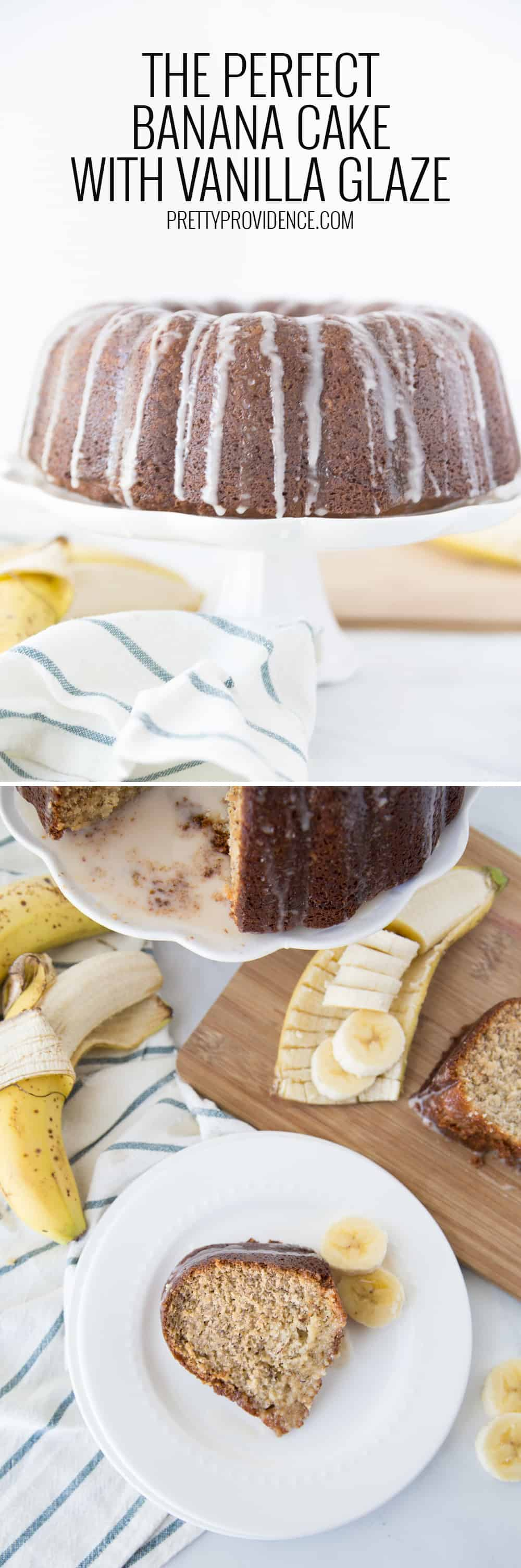 If you've ever wondered how to make banana cake at home, this easy banana cake recipe with vanilla glaze is perfection! It's made with sour cream and you will not find a more moist or delicious cake ever! #bananacake #bananacakerecipe #easybananacake #easybananacake #bananacakewithsourcream #moistbananacake