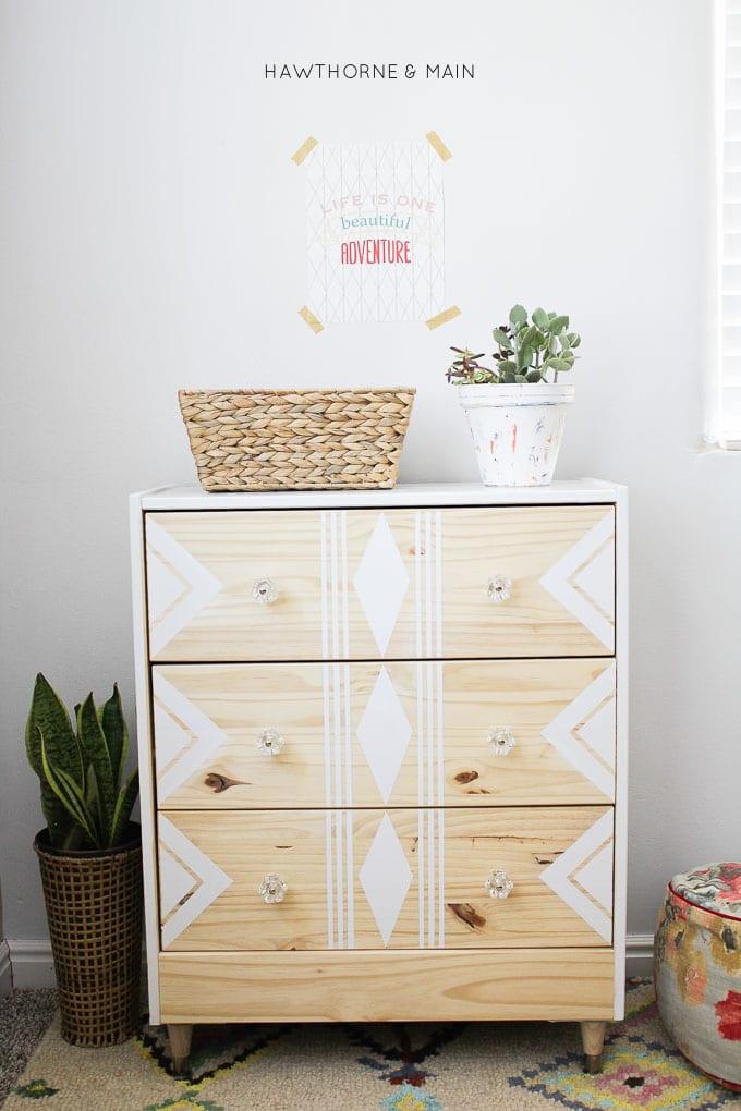 IKEA+rast+hack+paint+and+tape+tribal 3
