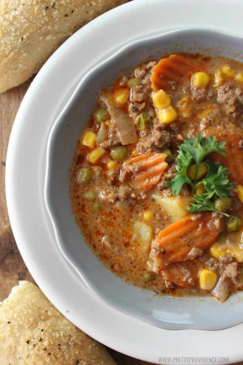 Okay this easy crockpot beef stew is seriously the best weeknight dinner! It's healthy, easy and delicious, what more could you need?