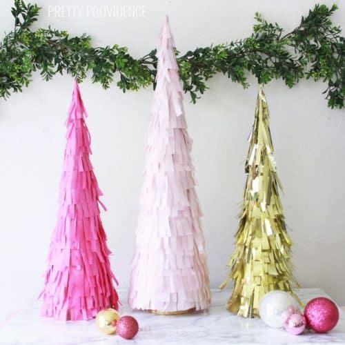 DIY Fringe Christmas Trees