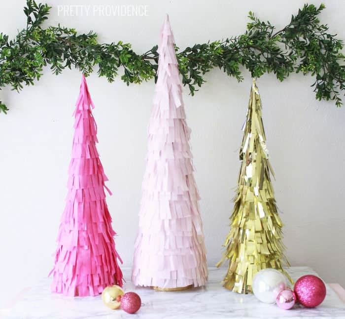 DIY Fringe Christmas Tree Decorations with Tissue Paper