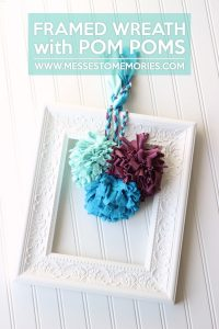 Framed Wreath with Pom Poms