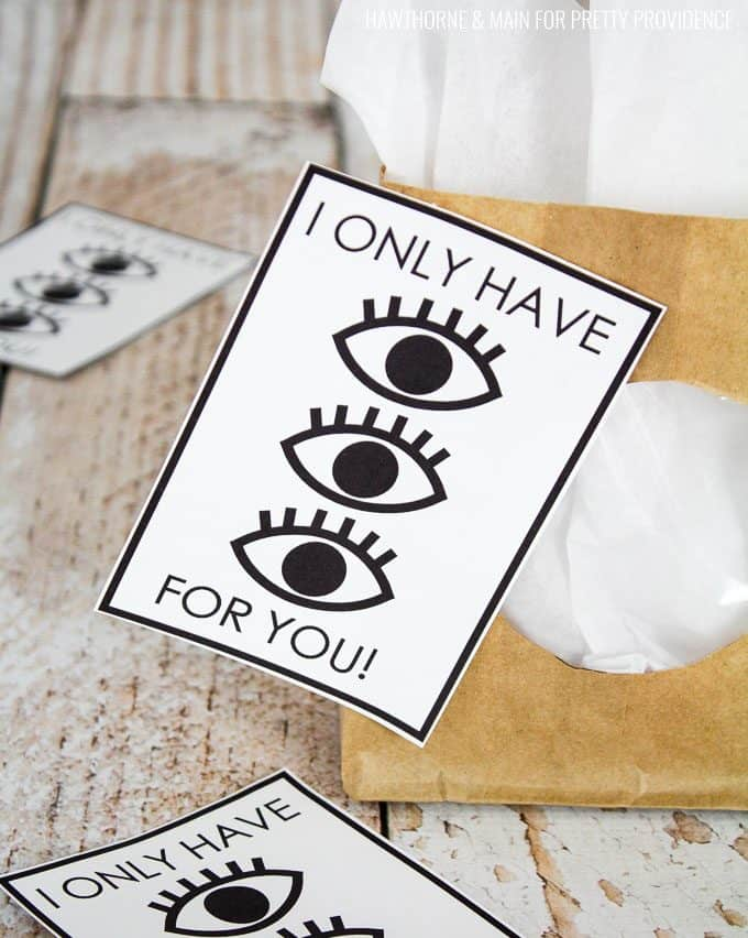 Free Printable Valentines Black and White 'I only have eyes for you'