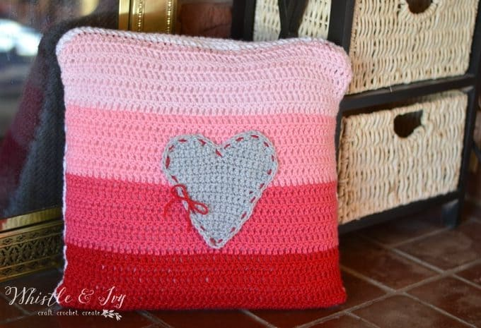 Ombre Heart Stitch Pillow