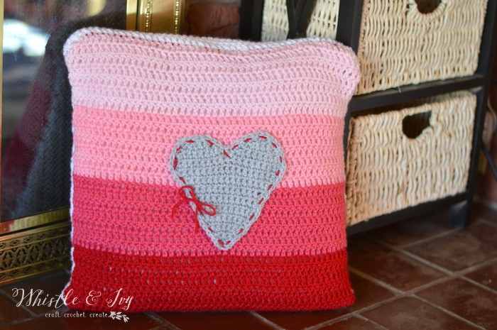 Ombre Heart Stitch Pillow Pretty Providence