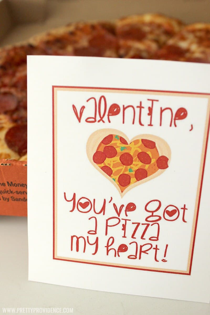 "You've got a ""Pizza my Heart"" free printable Valentines with heart shaped pizza on them."