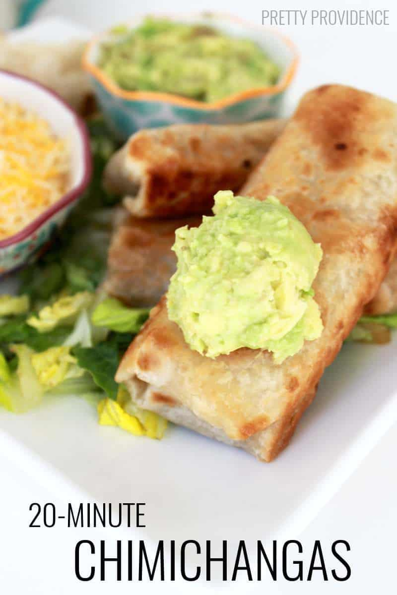 One of our new family FAVES! Quick and easy 20-minute Chimichangas to make on a busy weeknight!