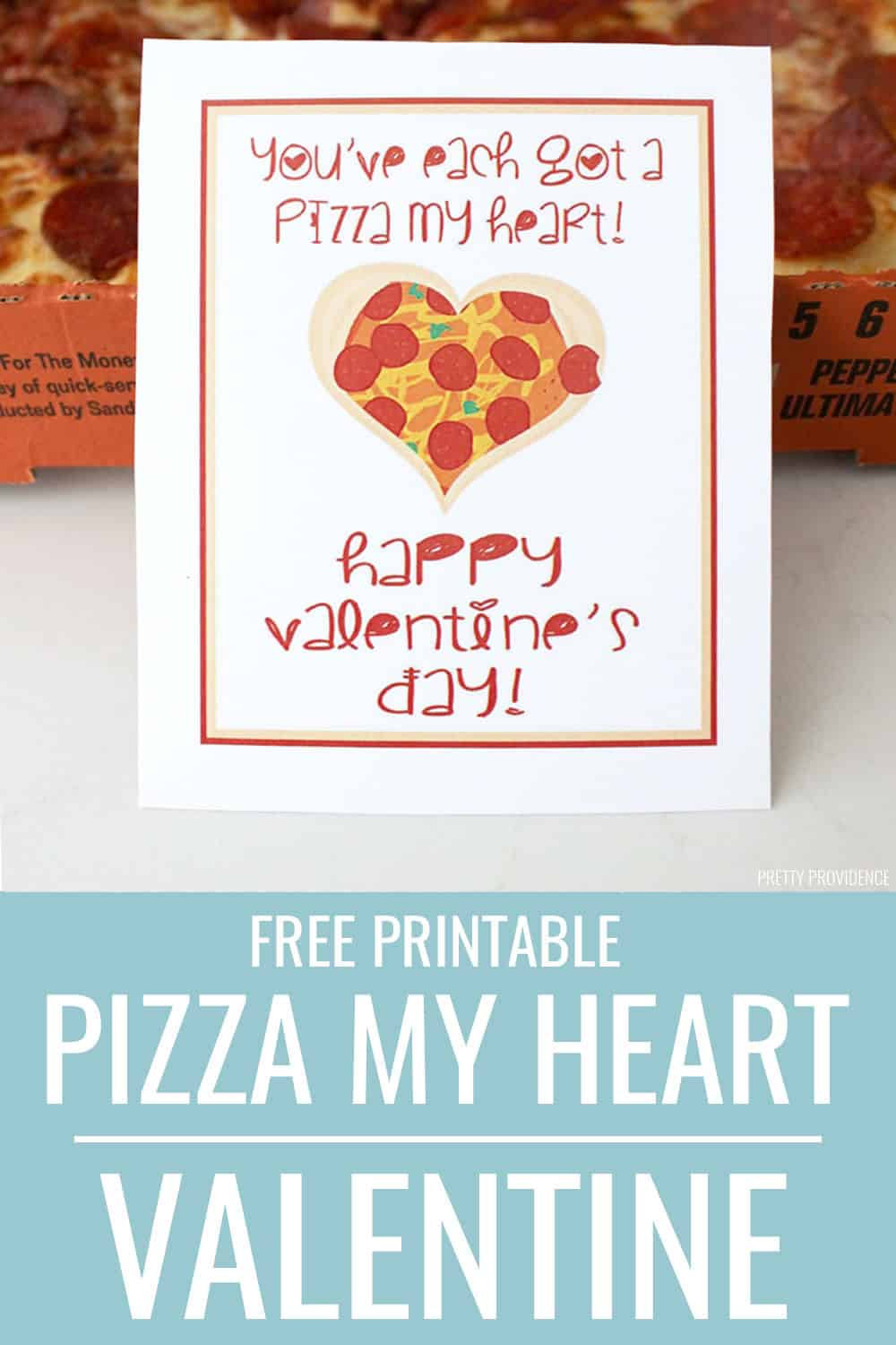Pizza pun Valentine - free printable! Print this free  valentine card and give it with a pizza, who wouldn't love that! #valentinesday #valentines #freeprintablevalentines #freeprintable #pizzapuns #pizza #valentinespizza #heartpizza #valentinesdinner #valentineswithkids #familyvalentines