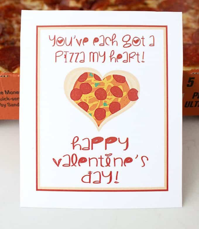 Pizza puns free printable Valentine card