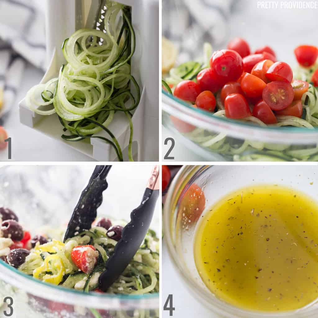 Spiralized greek salad collage - top left; spiralized cucumber, top right; cucumber and tomatoes in a bowl, bottom left; all salad ingredients in a bowl topped with feta cheese, bottom right; salad dressing
