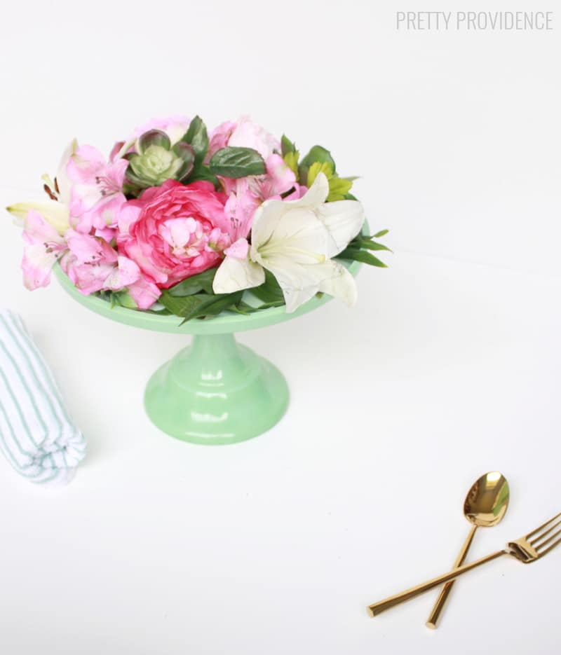 Easy DIY Floral Cake Stand Centerpiece! Quick and easy, perfect for an Easter centerpiece or affordable wedding!