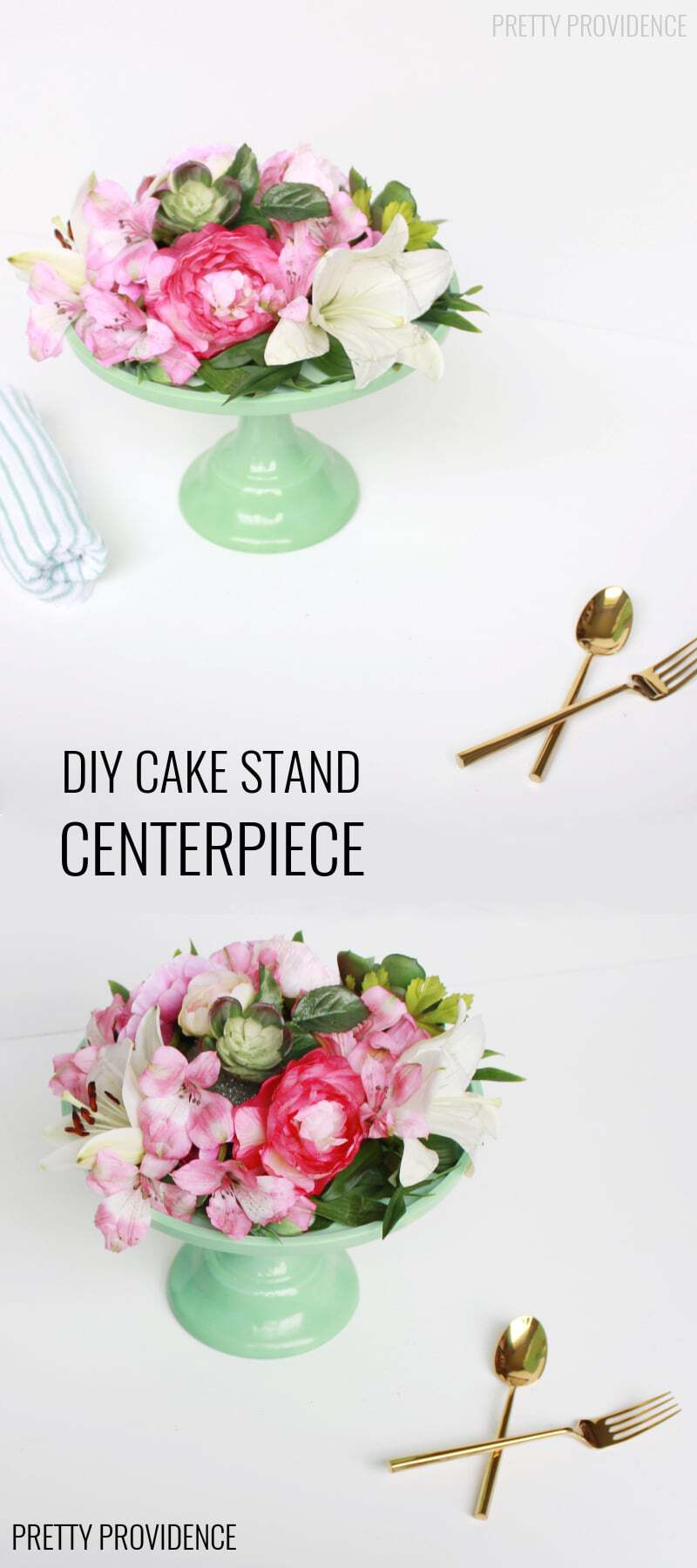 Easy DIY Floral Cake Stand Centerpiece! Quick and easy, perfect for an Easter centerpiece or affordable wedding! style=
