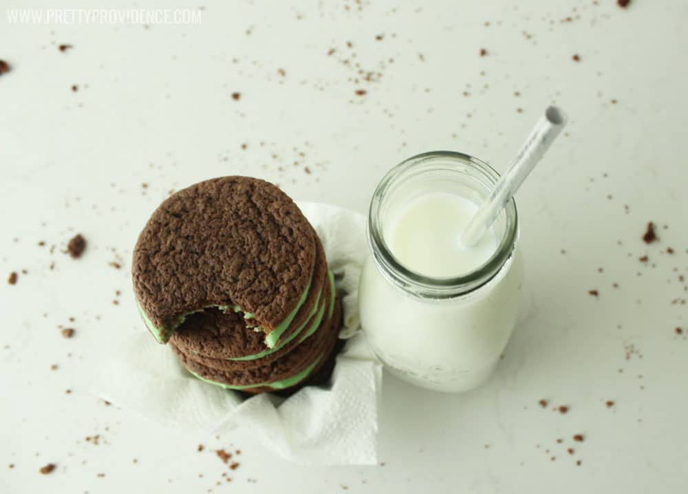 Okay these homemade mint oreos are freakin' amazing! They taste a lot like a mint fudge brownie, but are way easier and make a bunch more! I took them to neighbors and had rave reviews :).