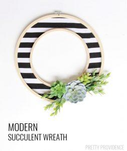 DIY Modern Succulent Wreath