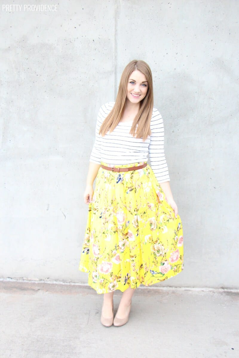 Springy Floral Skirt + Stripes = YES PLEASE