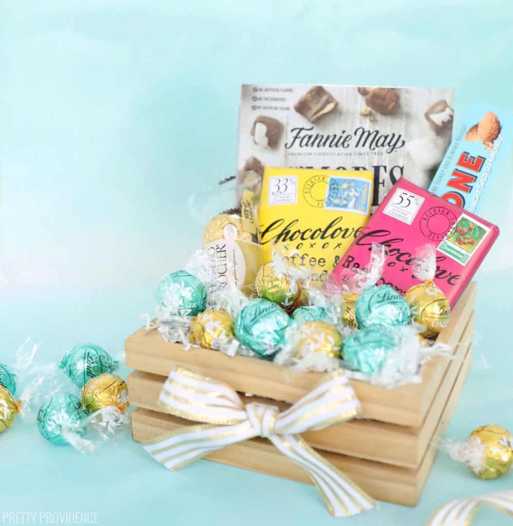 Simple wood box filled with Lindt chocolate truffles, Chocolove bars, Toblerone, Ferrero Rocher and Fannie May - DIY Box of Chocolates