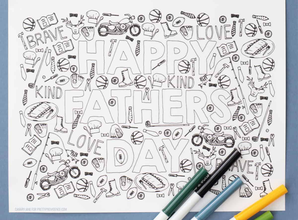 Father's Day coloring page with hand-drawn details and bubble letters 'Happy Father's Day'