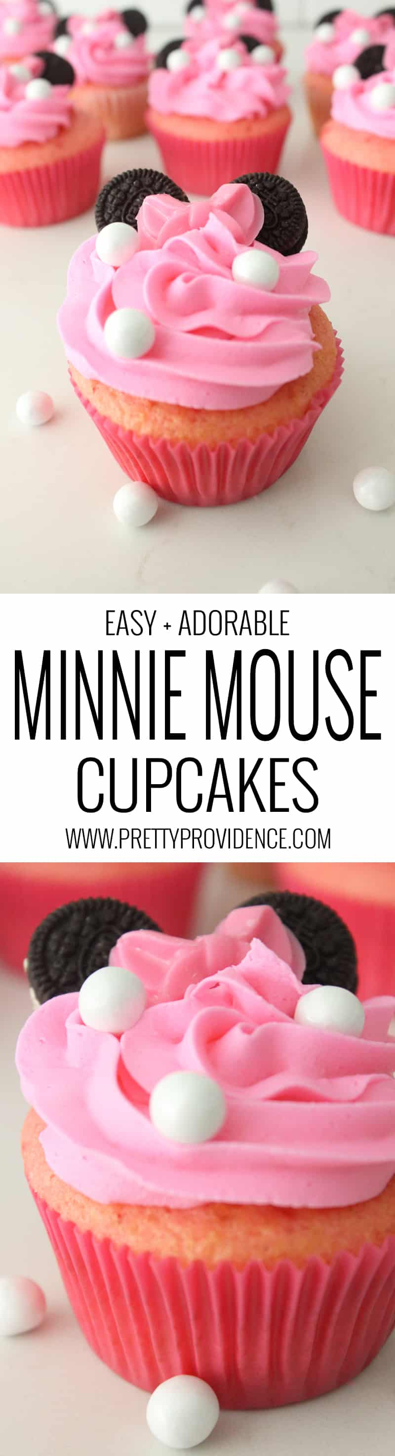 How amazing are these Minnie Mouse cupcakes?!! SUPER EASY to throw together, too!