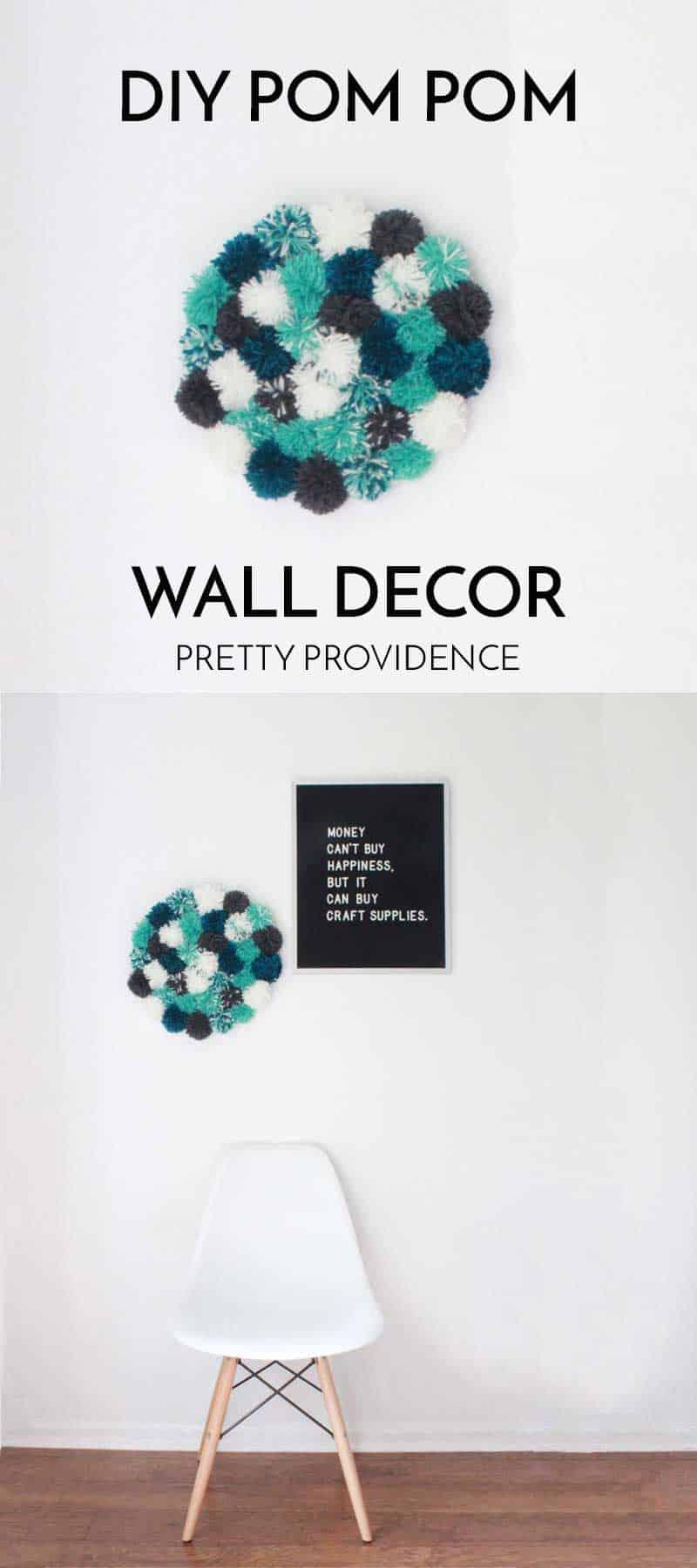 DIY Pom Pom Wall Decor! SUPER FUN right?!? I love this!
