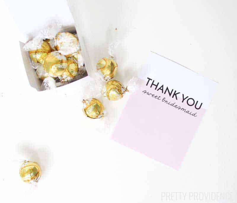 Cute bridesmaid gift - Lindt truffles! Yum! Free printable card too!