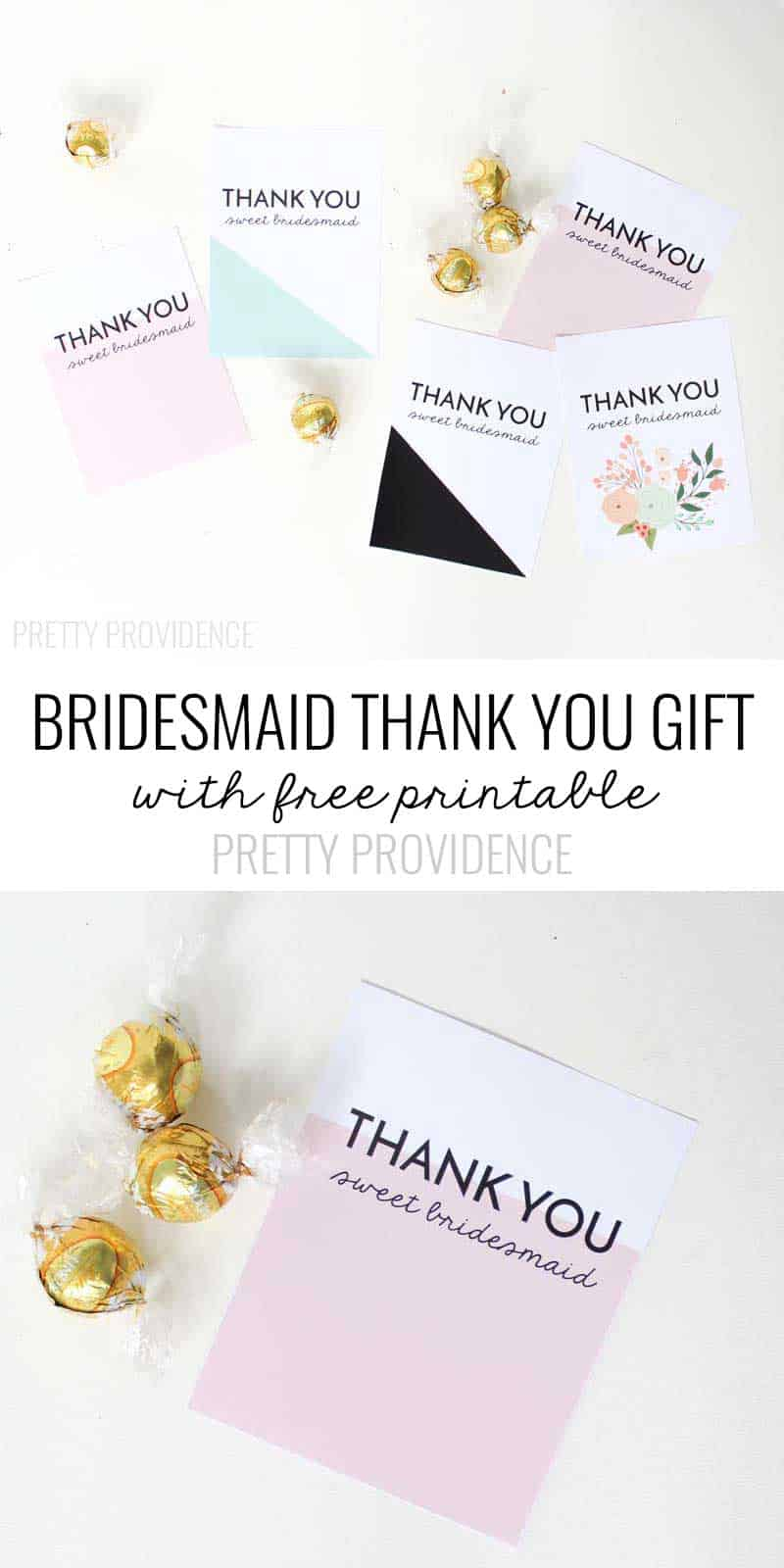 LOVE this bridesmaid thank you gift idea!!! (Free Printable Thank You cards too!) Definitely pinning for later