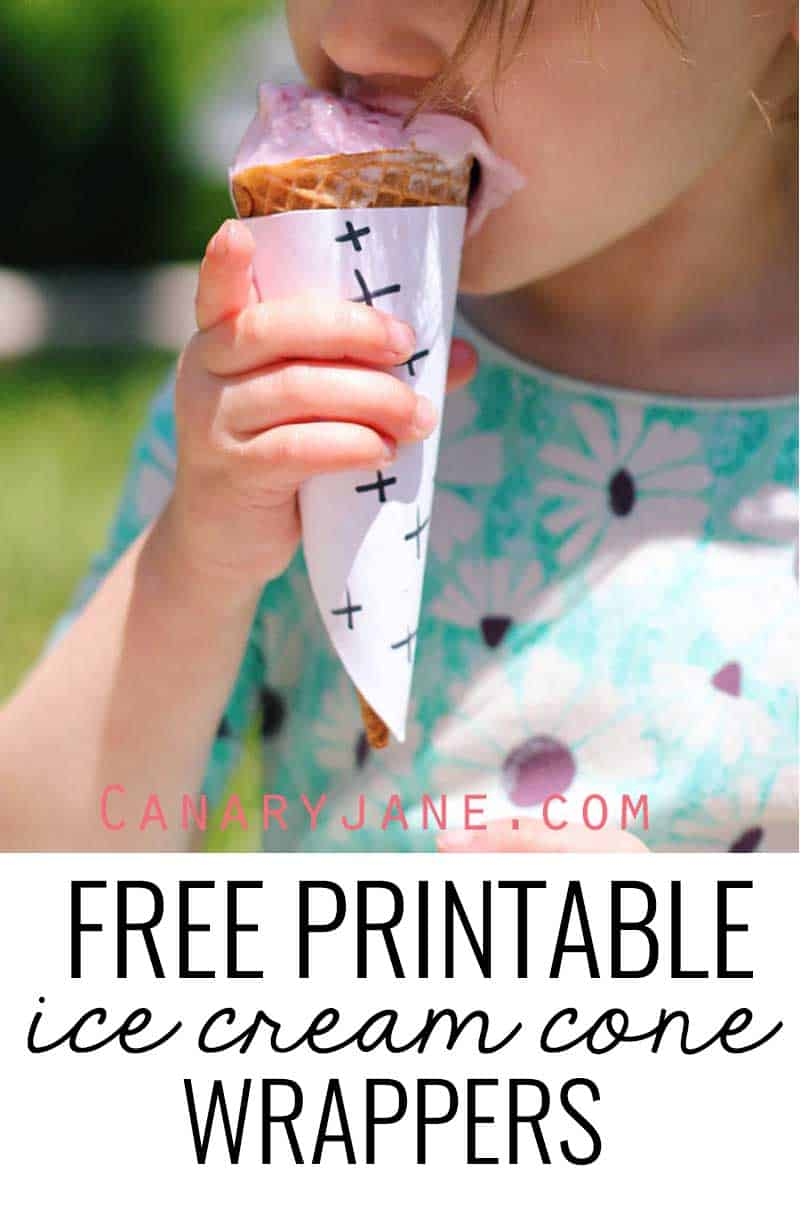Free printable ice cream cone wrappers! These are fun and will help keep the mess at bay!