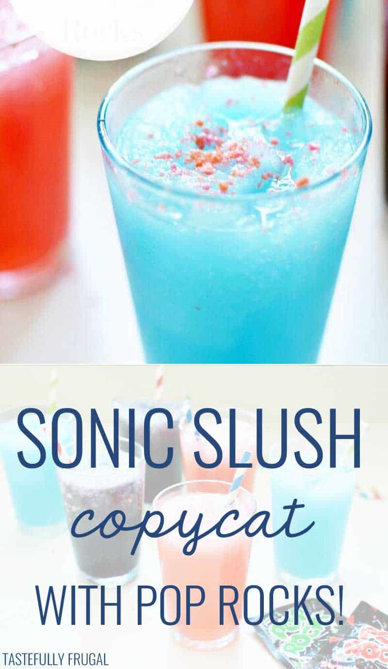 Copycat recipe for a sonic slush with pop rocks! Sooo cool, refreshing and FUN!