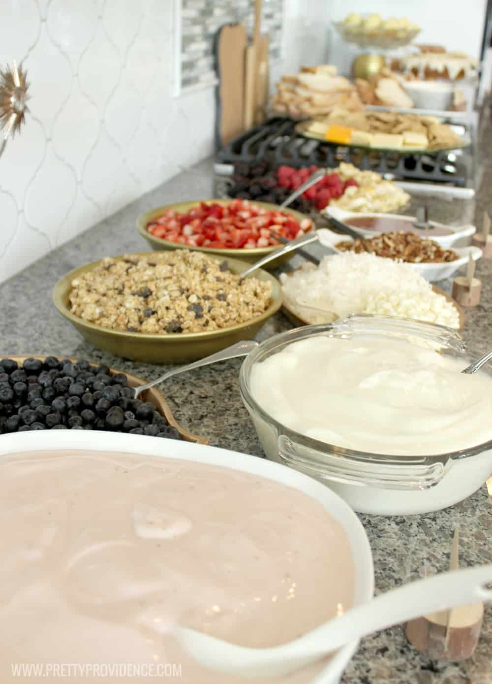 A yogurt bar is a perfect easy food solution for any shower or get together! Easy, healthy, filling and delicious!