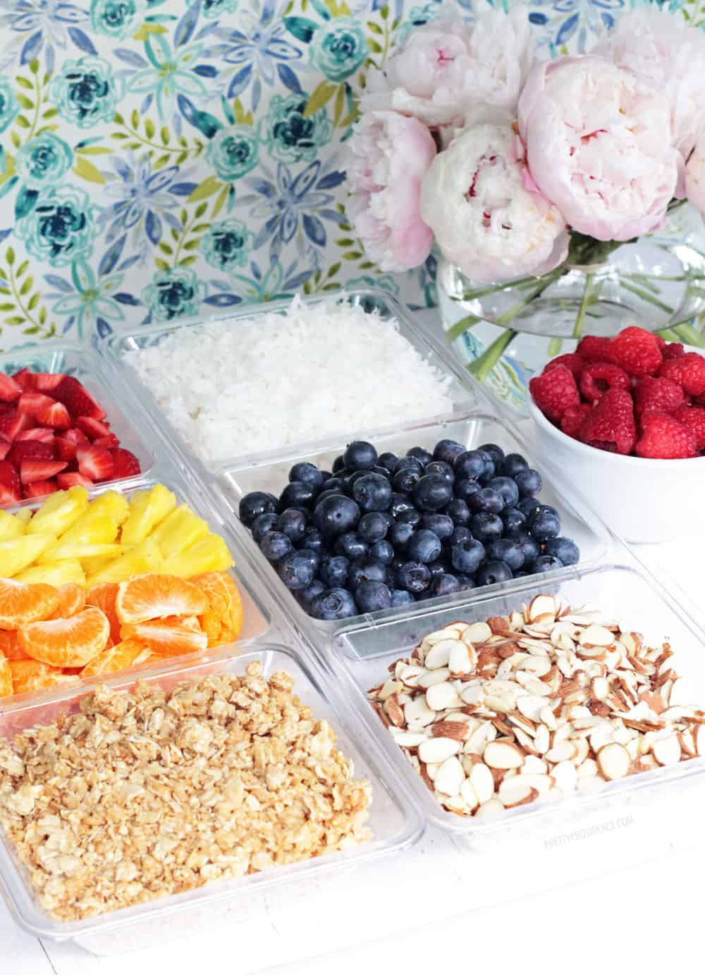 Yogurt toppings in a clear dish: strawberries, blueberries, raspberries, pineapple, oranges, almonds, coconut and granola.