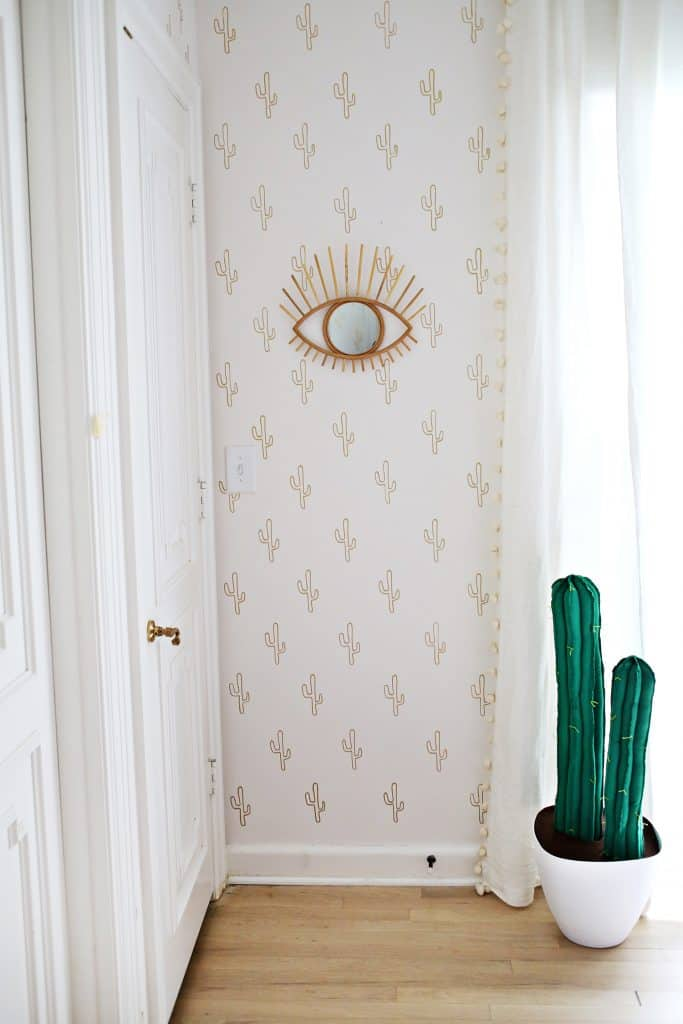 DIY Cactus Wallpaper with gold MARKERS! A Beautiful Mess