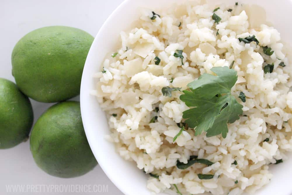 Okay this cilantro lime rice is so delicious! It's made with minute rice too, so it is so easy!