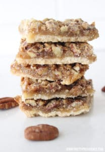 Okay these Pecan bars are AMAZING!! Way better/easier than pecan pie and makes a TON!