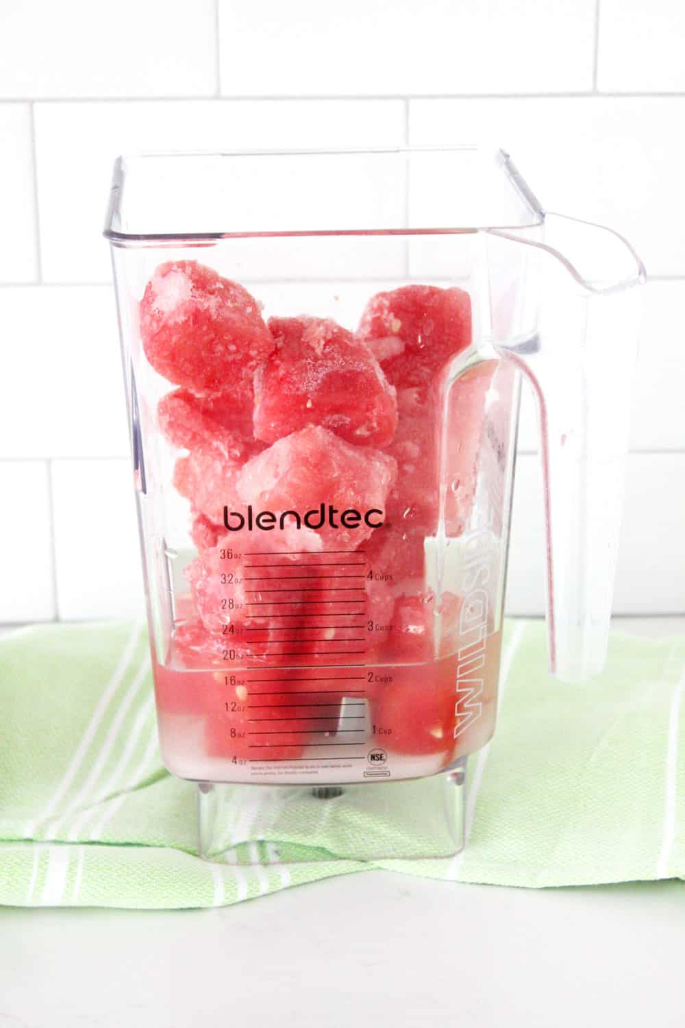 watermelon slush ingredient in blendtec ready to blend