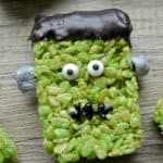 Frankenstein Rice Krispie Treats: A quick and easy Halloween treat perfect for play groups, class parties or just because!