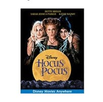 Hocus Pocus DVD cover with Sanderson Sisters on the cover and the moon.