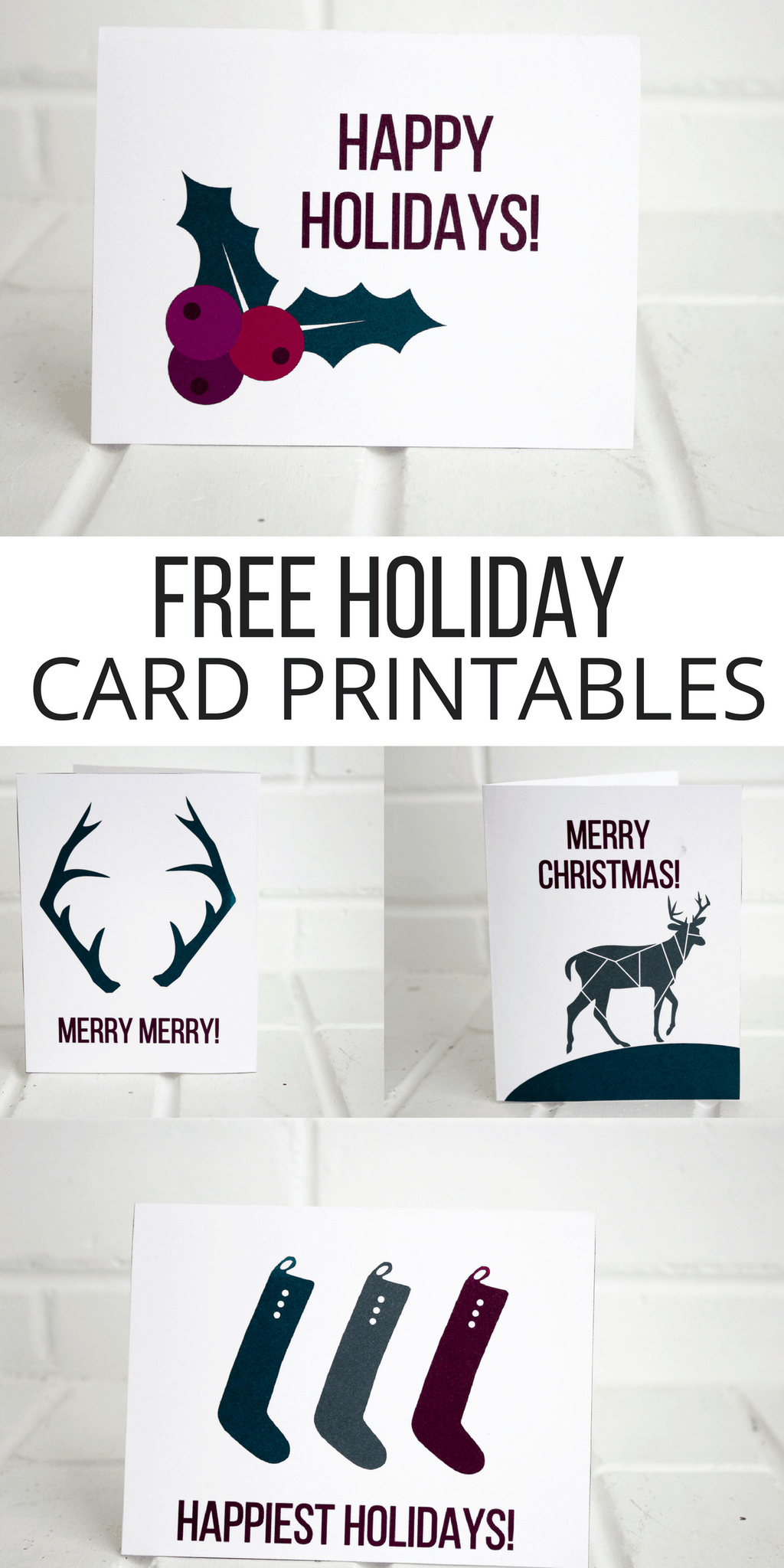 Holiday Printable Cards (FREE) - Pretty Providence
