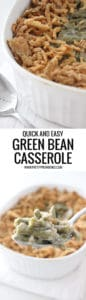 Green Bean Casserole close up in a white casserole dish.