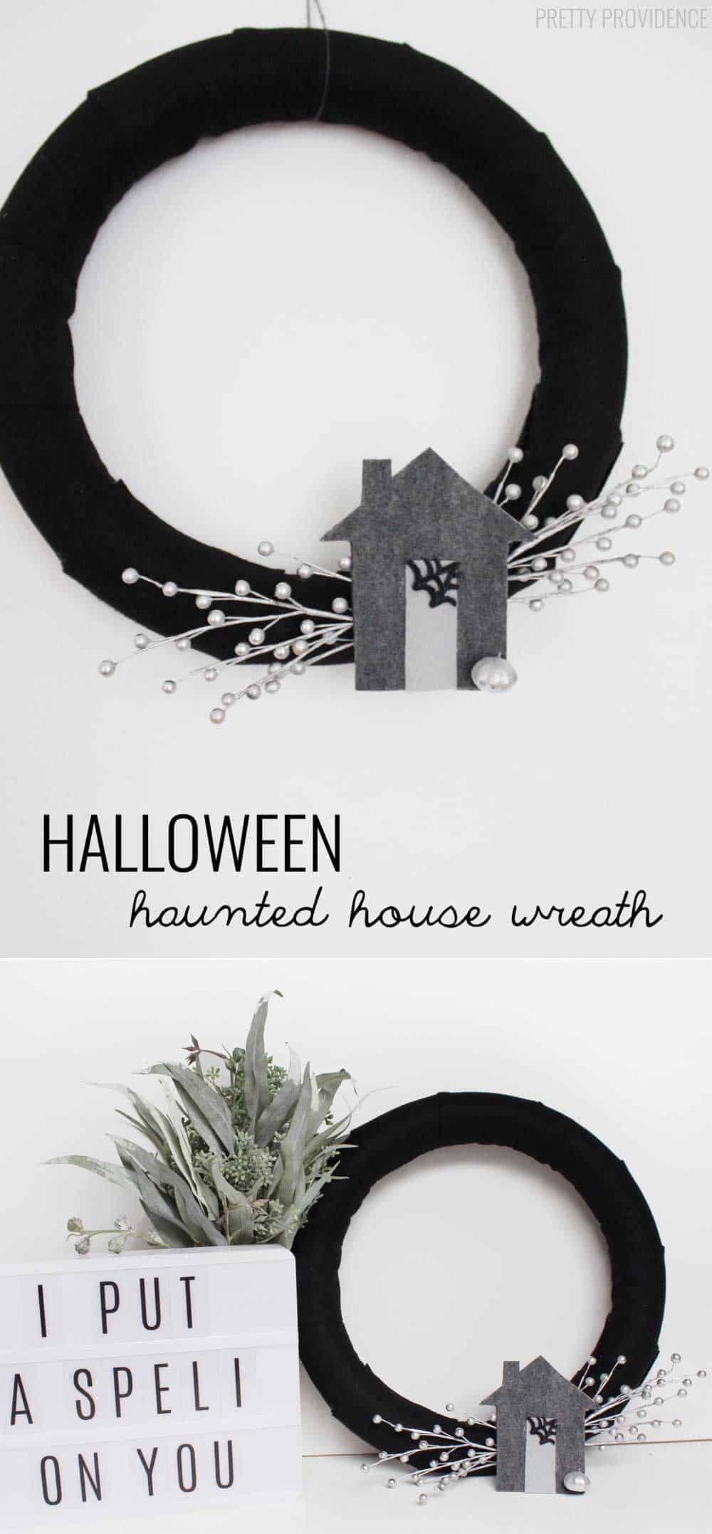 I love this cute, modern haunted house wreath for Halloween!