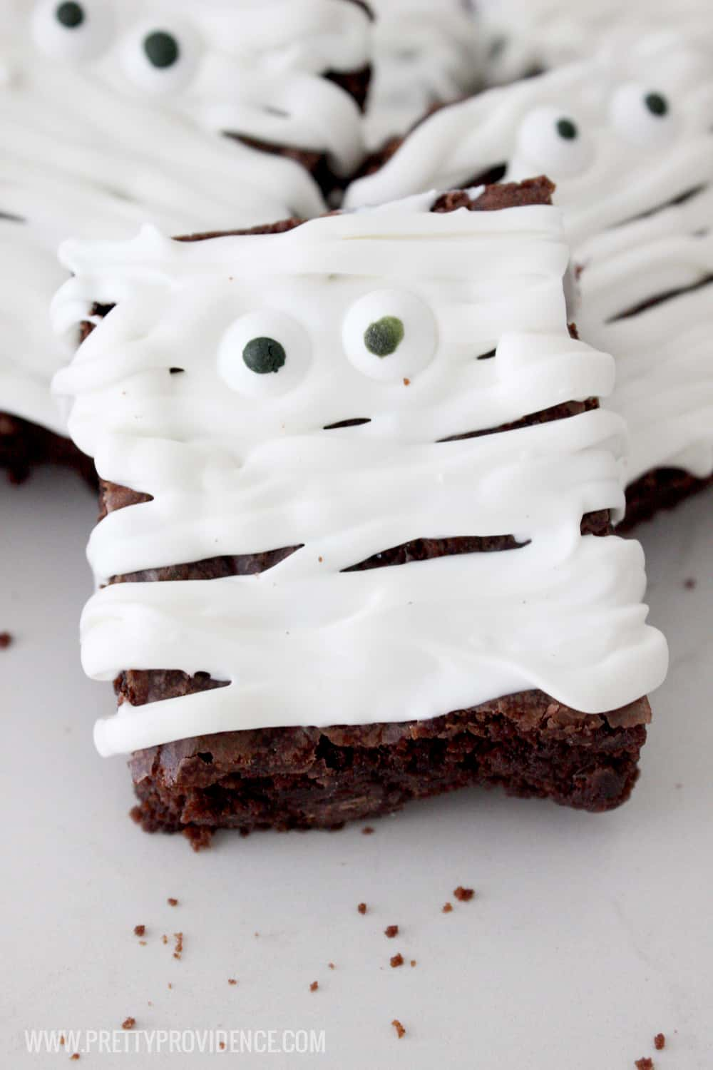 Okay these mummy brownies are so freaking adorable! They are easy to make, freaking delicious, and my kids couldn't stop raving about them! Definitely a new Halloween tradition!