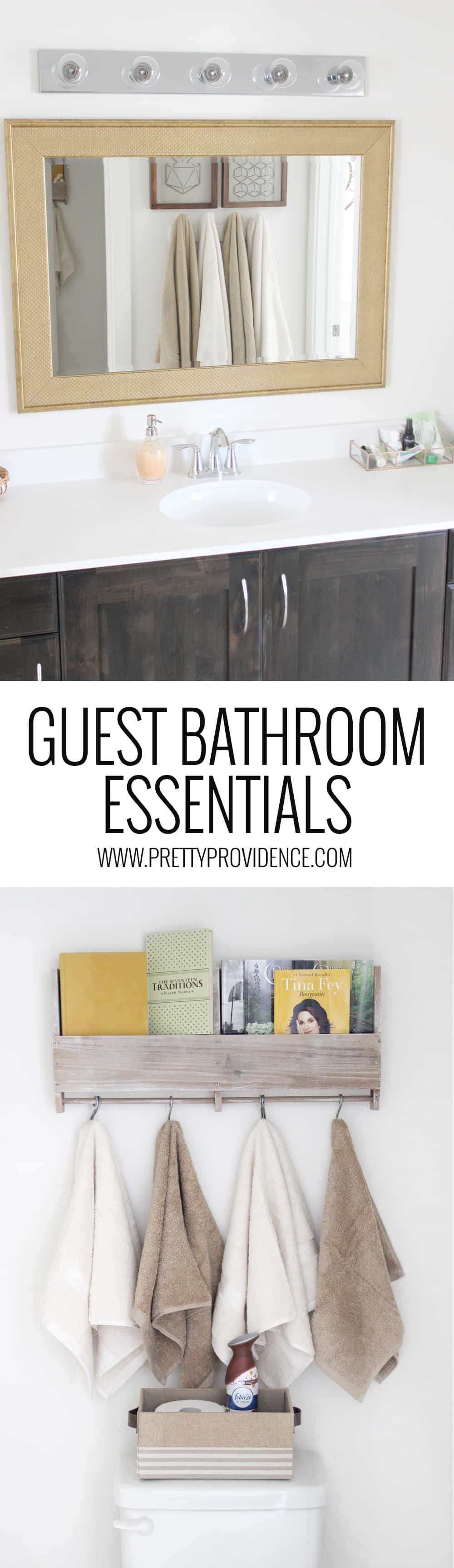 I am loving this guest bathroom! Especially love the little touches she did to make the guests feel welcome and comfortable! So simple, but it goes a long way!