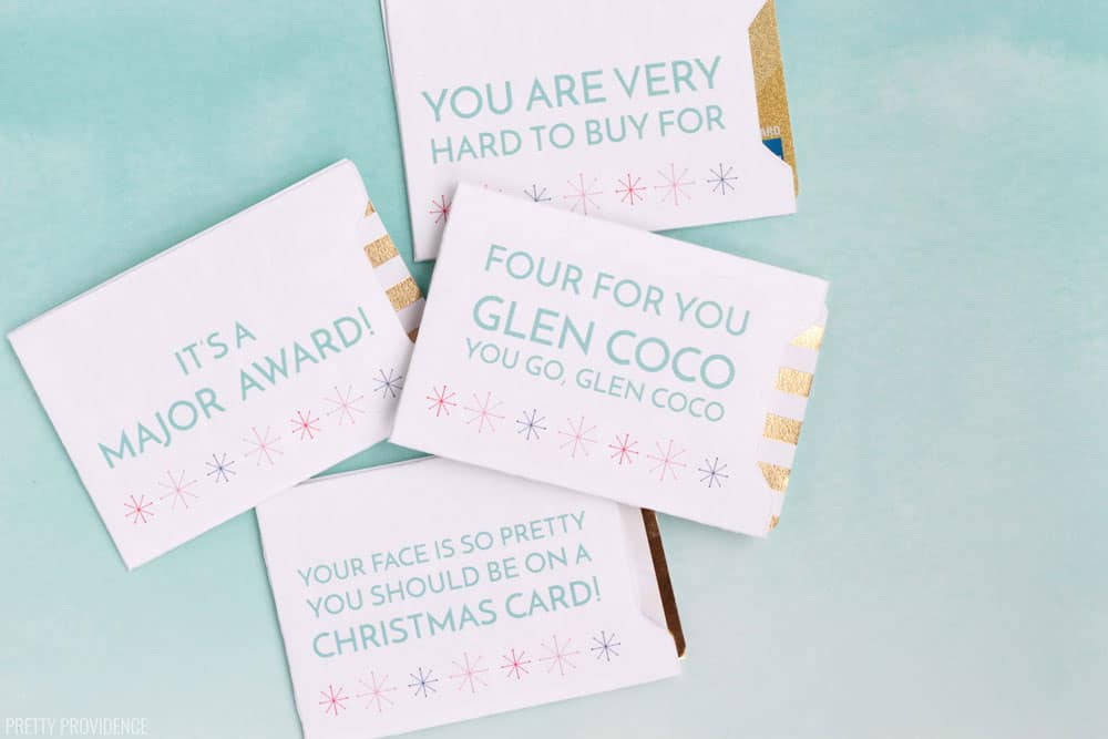 Christmas card printables with funny movie quotes on them in blue ink.