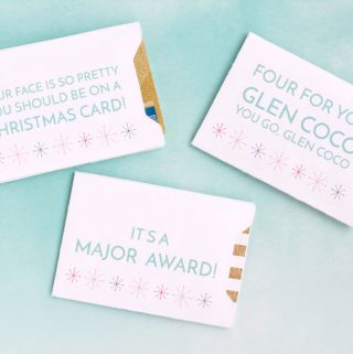 Four Christmas Gift Card Envelopes with Funny Movie Quotes on Blue Background