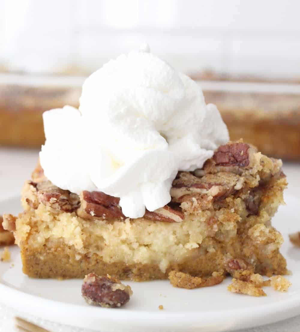 Pumpkin dump cake on a white plate, crushed walnut topping and a big dollop of whipped cream on top.